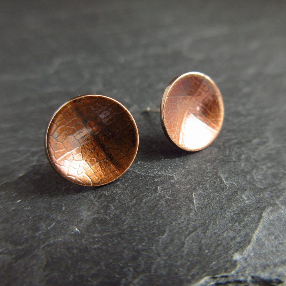 Embossed Bronze Stud Earrings - Leaf Vein