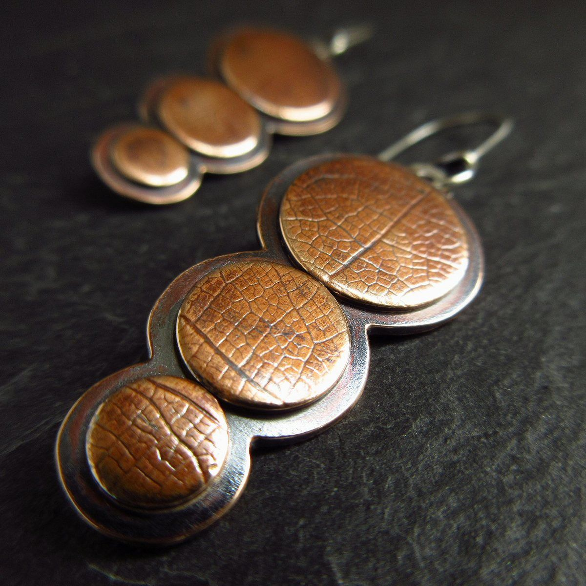 bronze three disc earrings