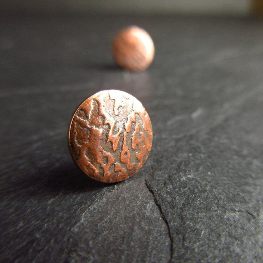Round Copper Studs with Embossed Design