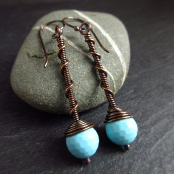Copper Wirework Earrings with Blue Bead