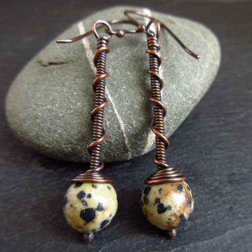 Copper Wirework Earrings with Dalmation Jasper Bead