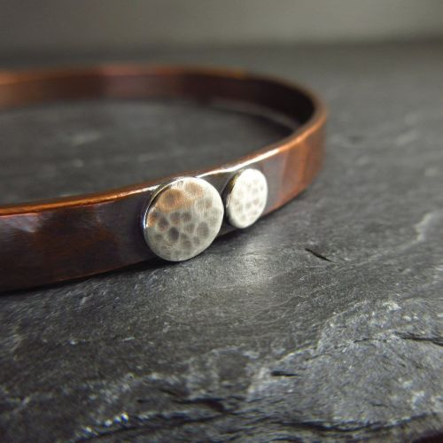Hammered Copper Bangle with Silver Discs