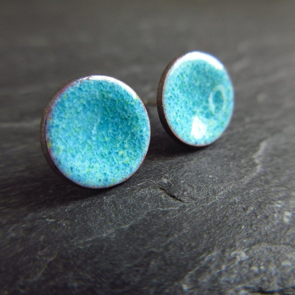Denim Blue Enamel Stud Earrings with Sterling Silver Posts