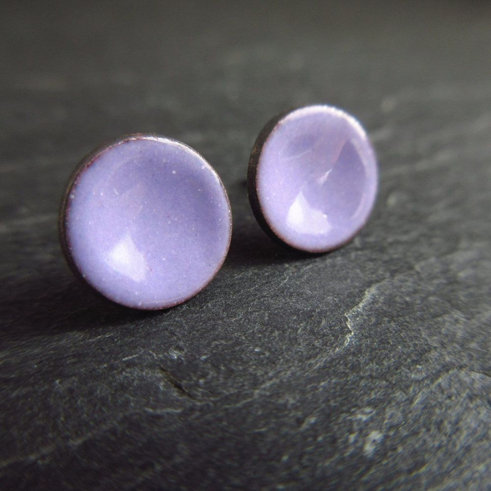 Purple Enamel Stud Earrings