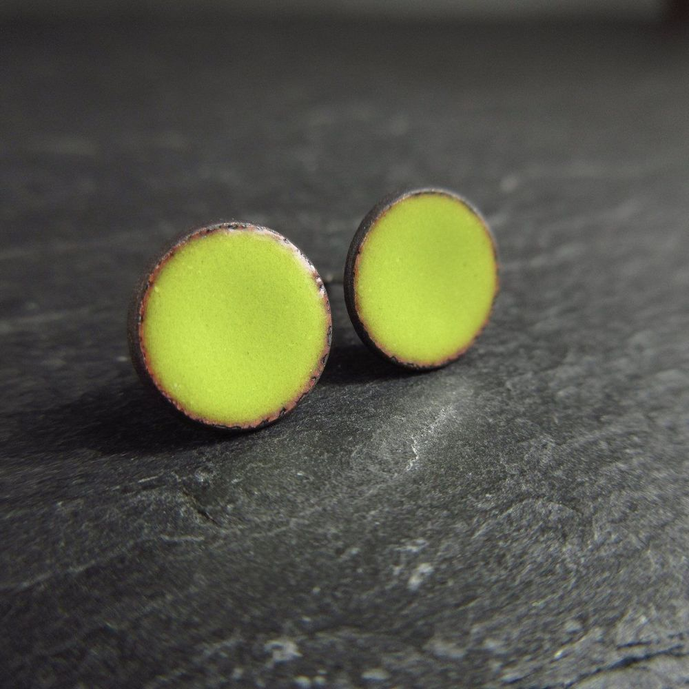 Bright Green Enamel Stud Earrings with Sterling Silver Posts