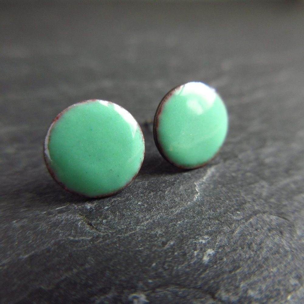 Mint Green Enamel Stud Earrings