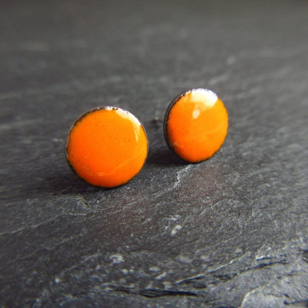 Orange Enamel Stud Earrings