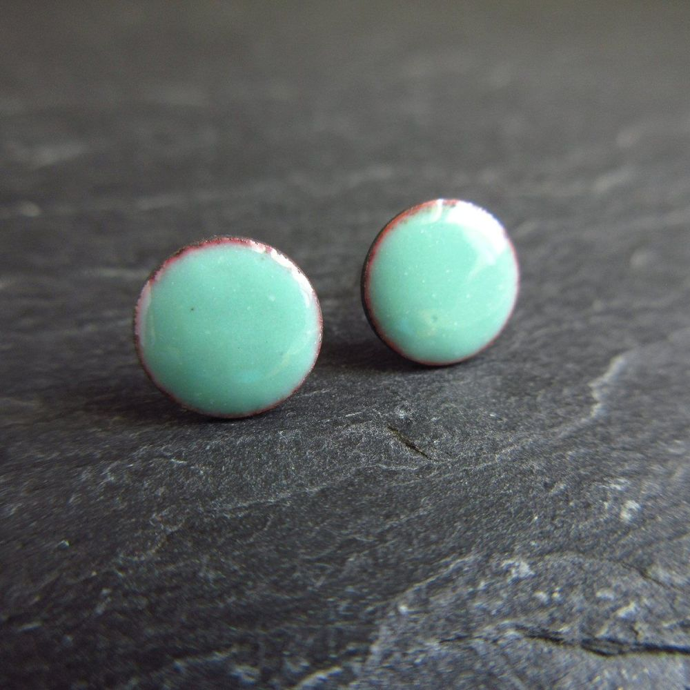 Seafoam Blue Enamel Stud Earrings