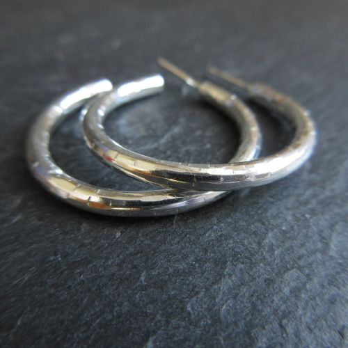 Sterling Silver Hoop Earrings with Posts