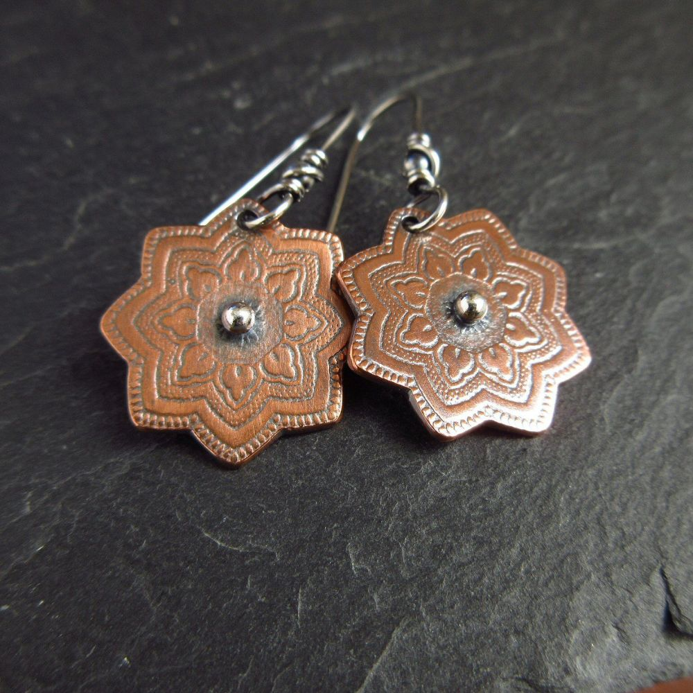 Handmade Copper Flower Earrings With Silver Ball