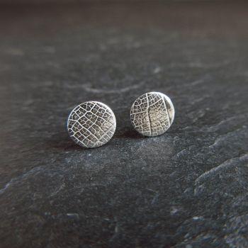 Sterling Silver Stud Earrings - Leaf Vein Texture