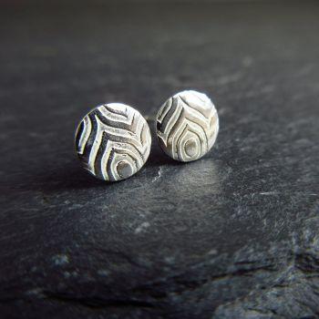 Sterling Silver Stud Earrings - Geometric Pattern