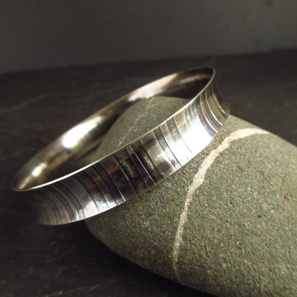 Curved Sterling Silver Bangle with Stripe Design