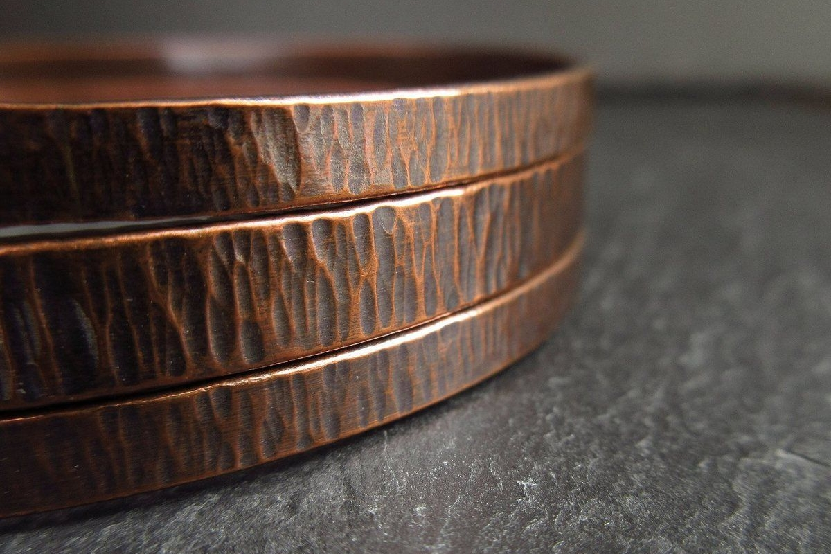 hammered texture copper bangle set