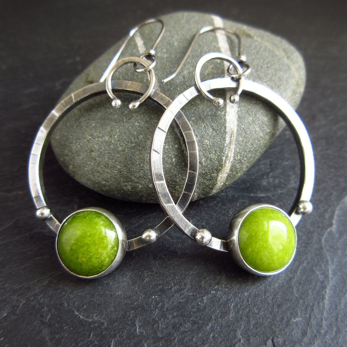 Sterling silver hoops with green calcite