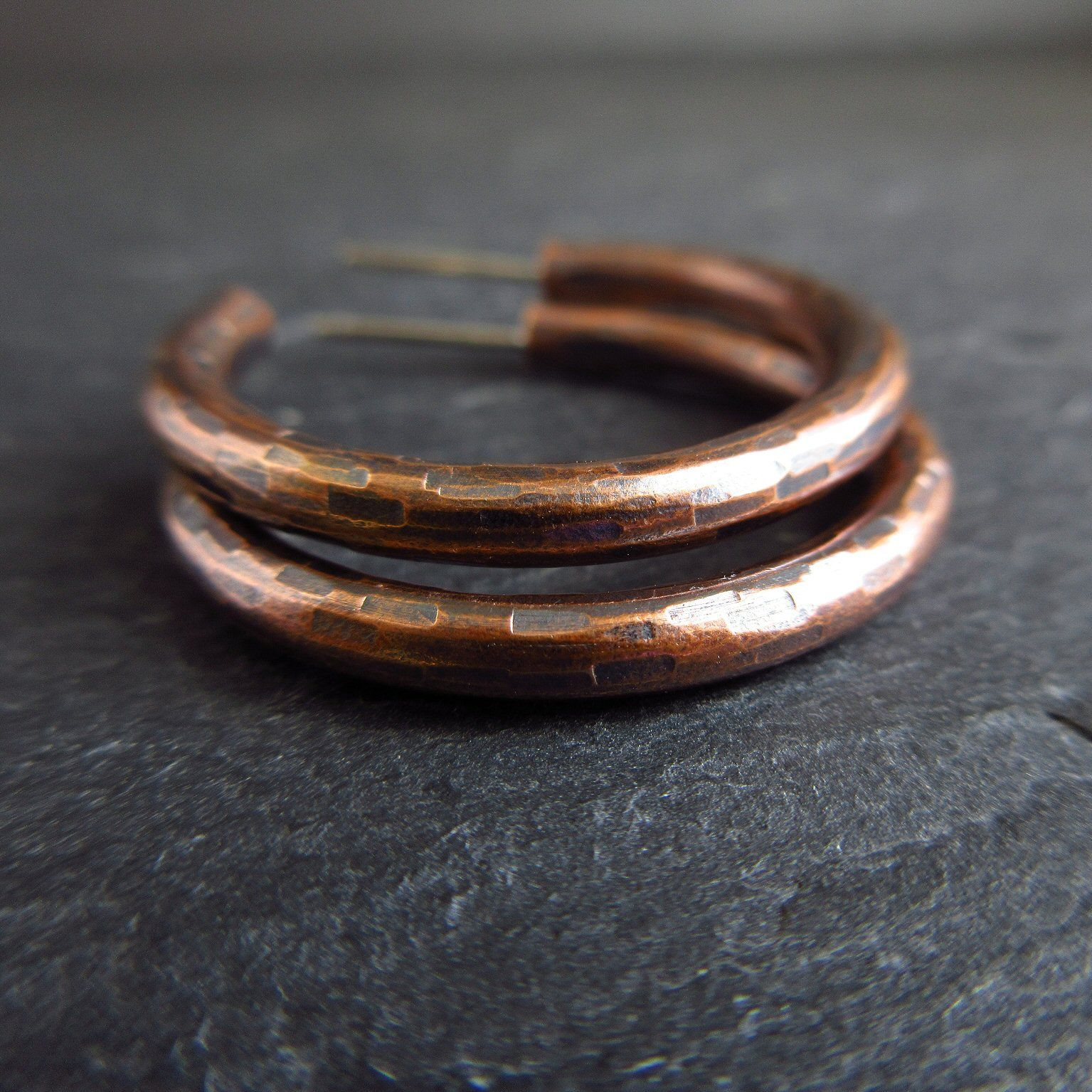 Hammered bronze hoop earrings