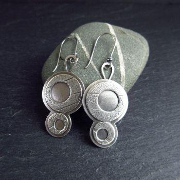 Sterling Silver Retro Disc Earrings