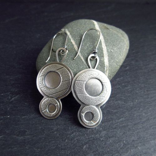 Sterling Silver Retro Disc Earrings