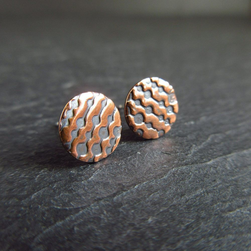 Round Copper Studs with Embossed Circle Design
