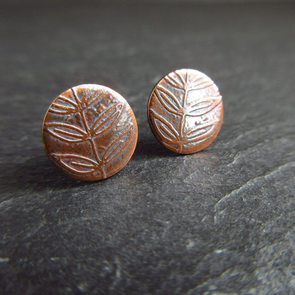 Copper Leaf Stud Earrings