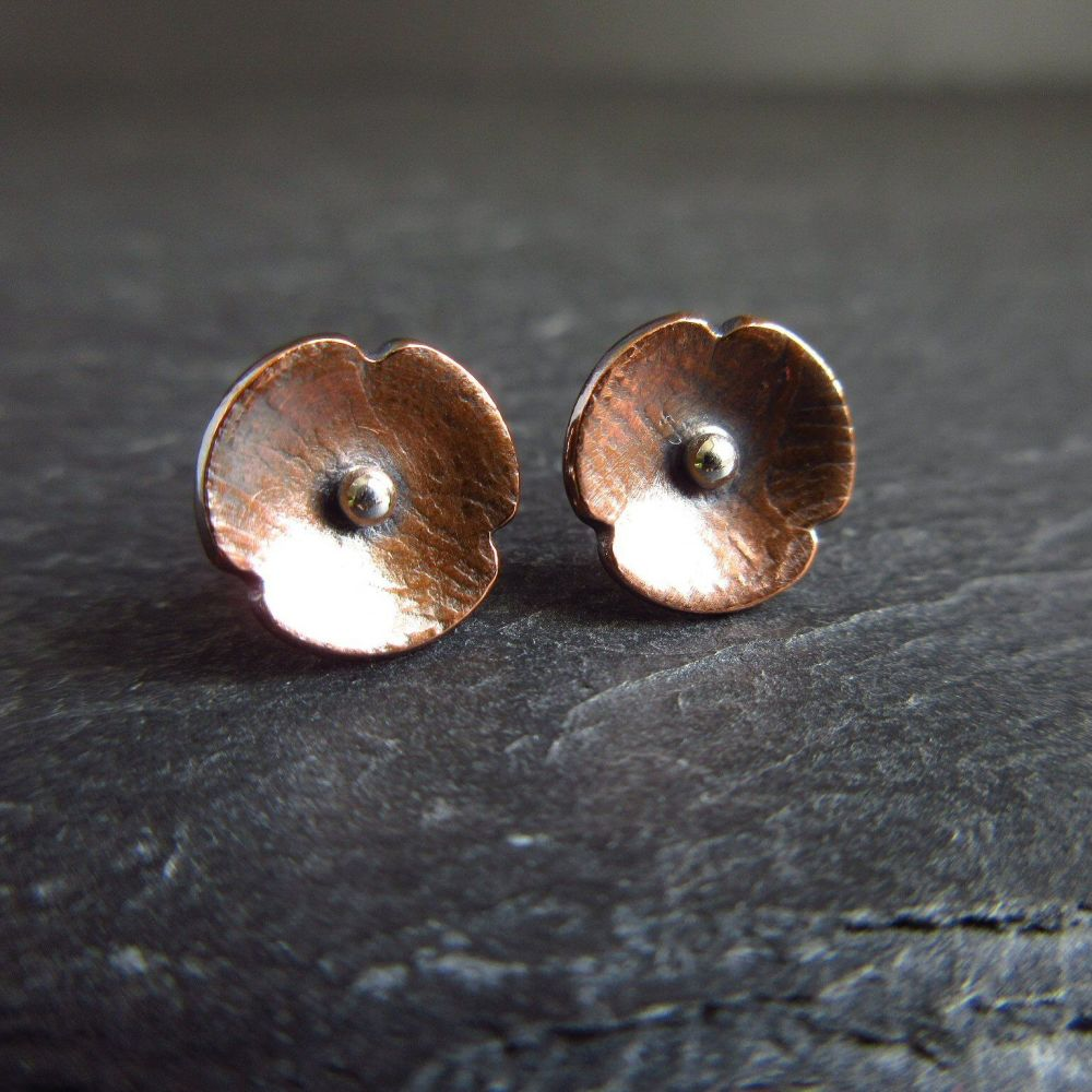 Copper Poppy Stud Earrings