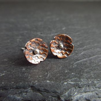 Copper Poppy Stud Earrings with Circle Pattern