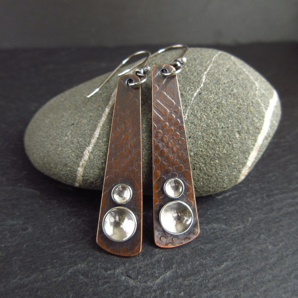 Copper Paddle Earrings with Sterling Silver Discs