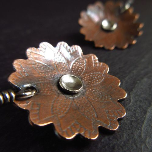 Embossed Copper Flower Earrings With Silver Disc