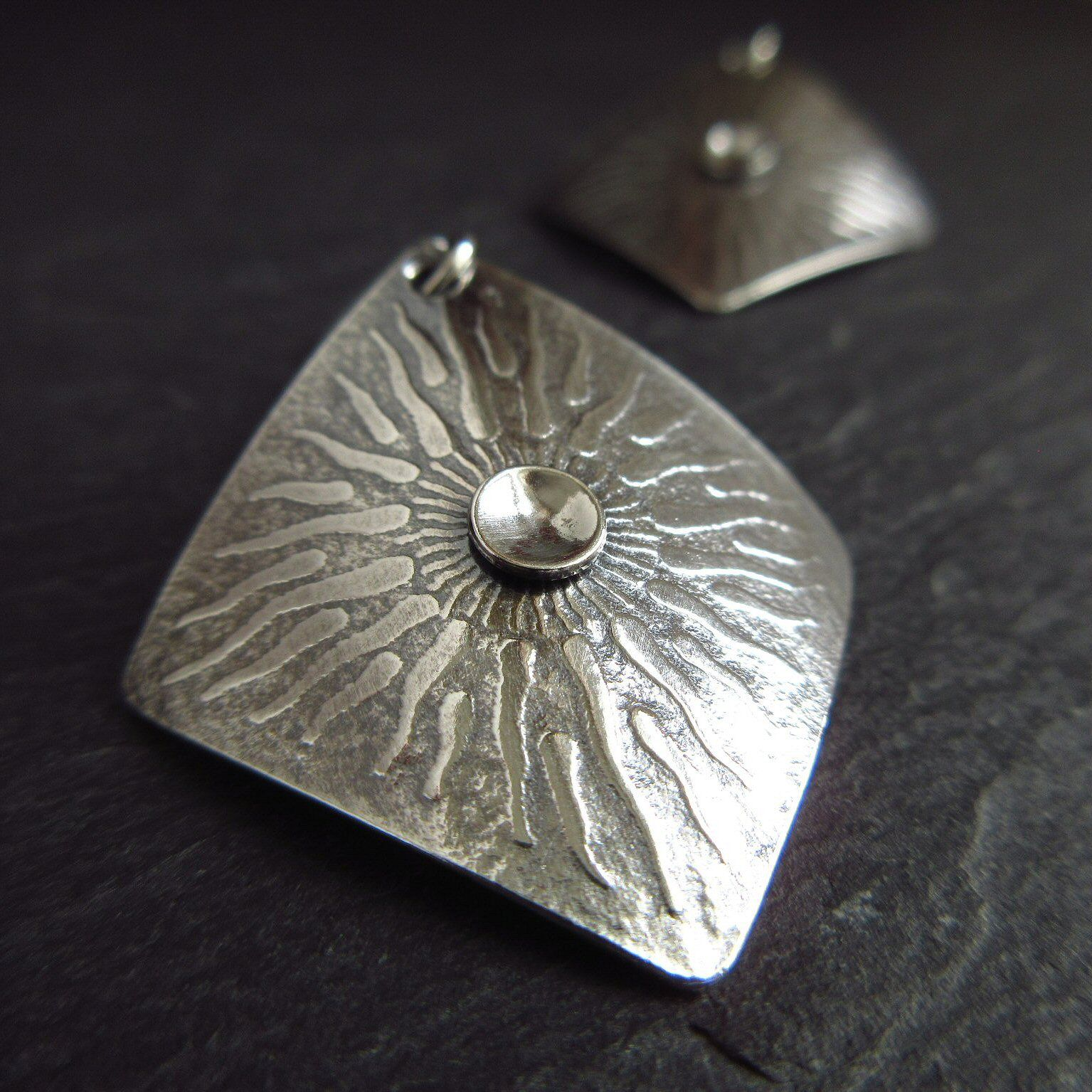 Sterling silver sunburst earrings