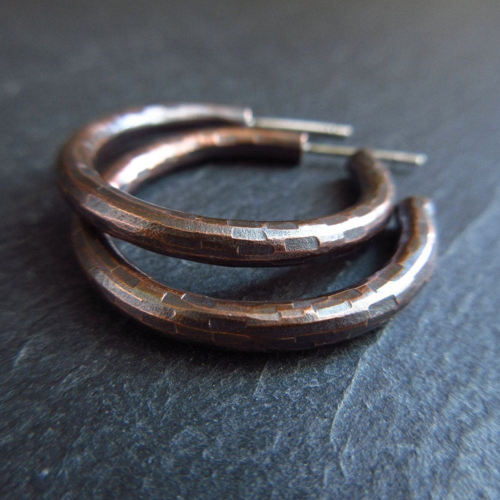 Bronze Hoop Earrings with Hammered Texture