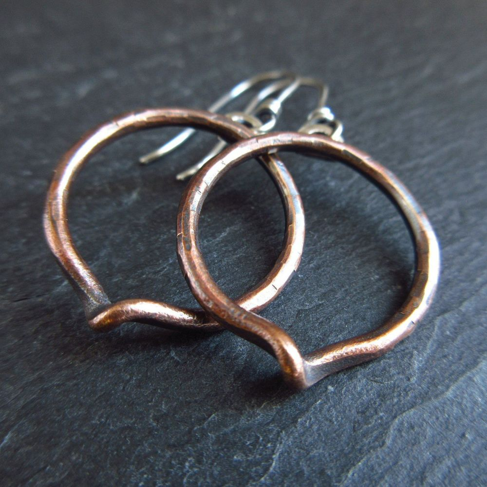 Bronze Hoop Earrings with a Twist