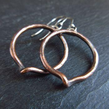 Bronze Hoop Earrings with a Twist