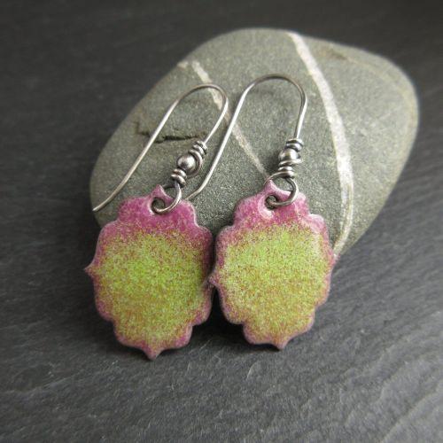 Fancy Shaped Pink and Green Enamel Earrings