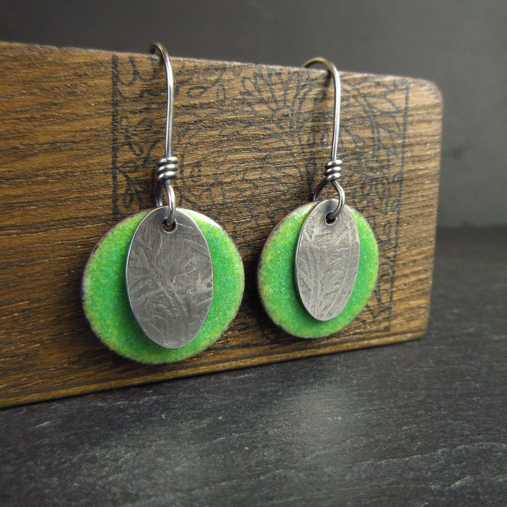Green Enamel Disc Earrings with Silver Ovals