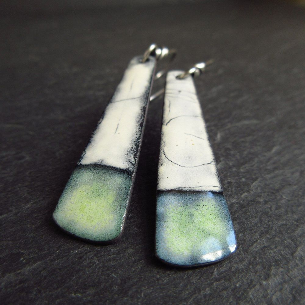 Green and White Enamel Paddle Earrings