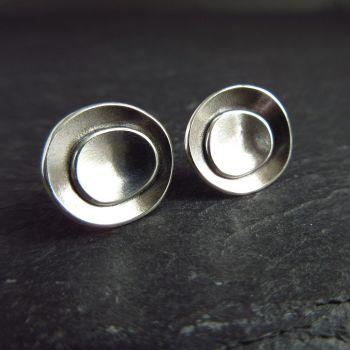 Sterling Silver Pebble Stud Earrings -