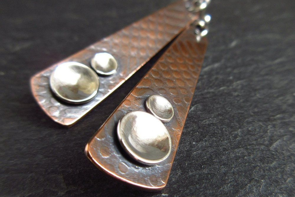 copper and sterling silver metalwork earrings