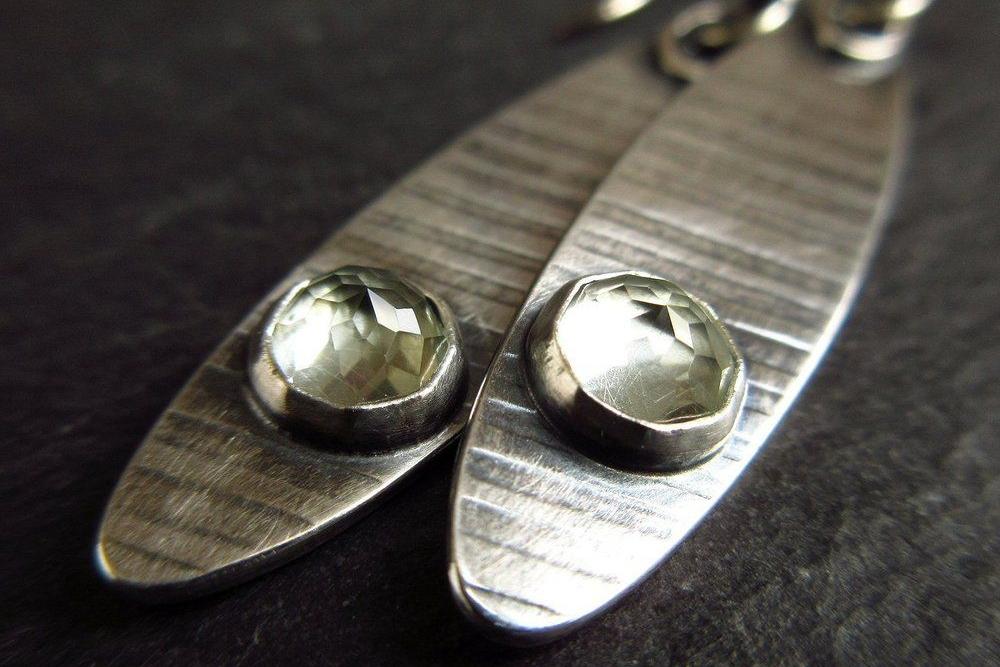 sterling silver earrings with green amethyst