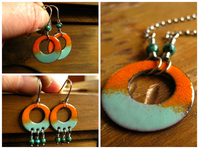 torch enamel earrings and pendant