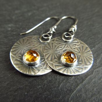 Sterling Silver Disc Earrings with Citrine Cabochon