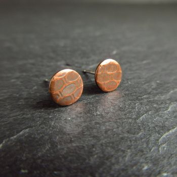 Round Copper Studs with Embossed Cell Design