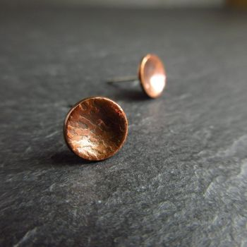 Copper Bowl Studs with Embossed Design