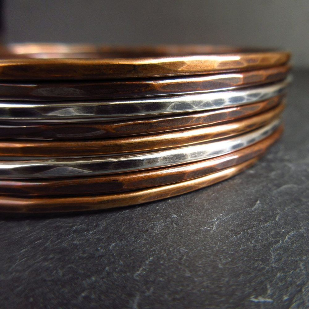 Mixed Metal Bangles - Sterling Silver, Copper and Bronze