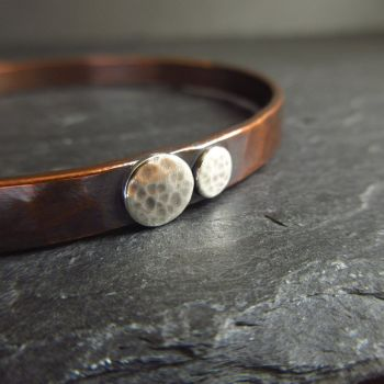 Hammered Copper Bangle with Silver Dscs