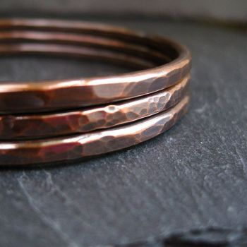 Hammered Copper Bangle Set