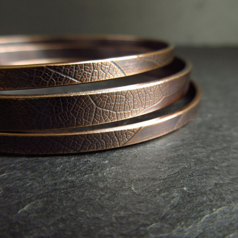 Bronze Bangle Set - Leaf Vein Texture