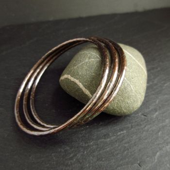 Hammered Bronze Bangles - Facet Texture
