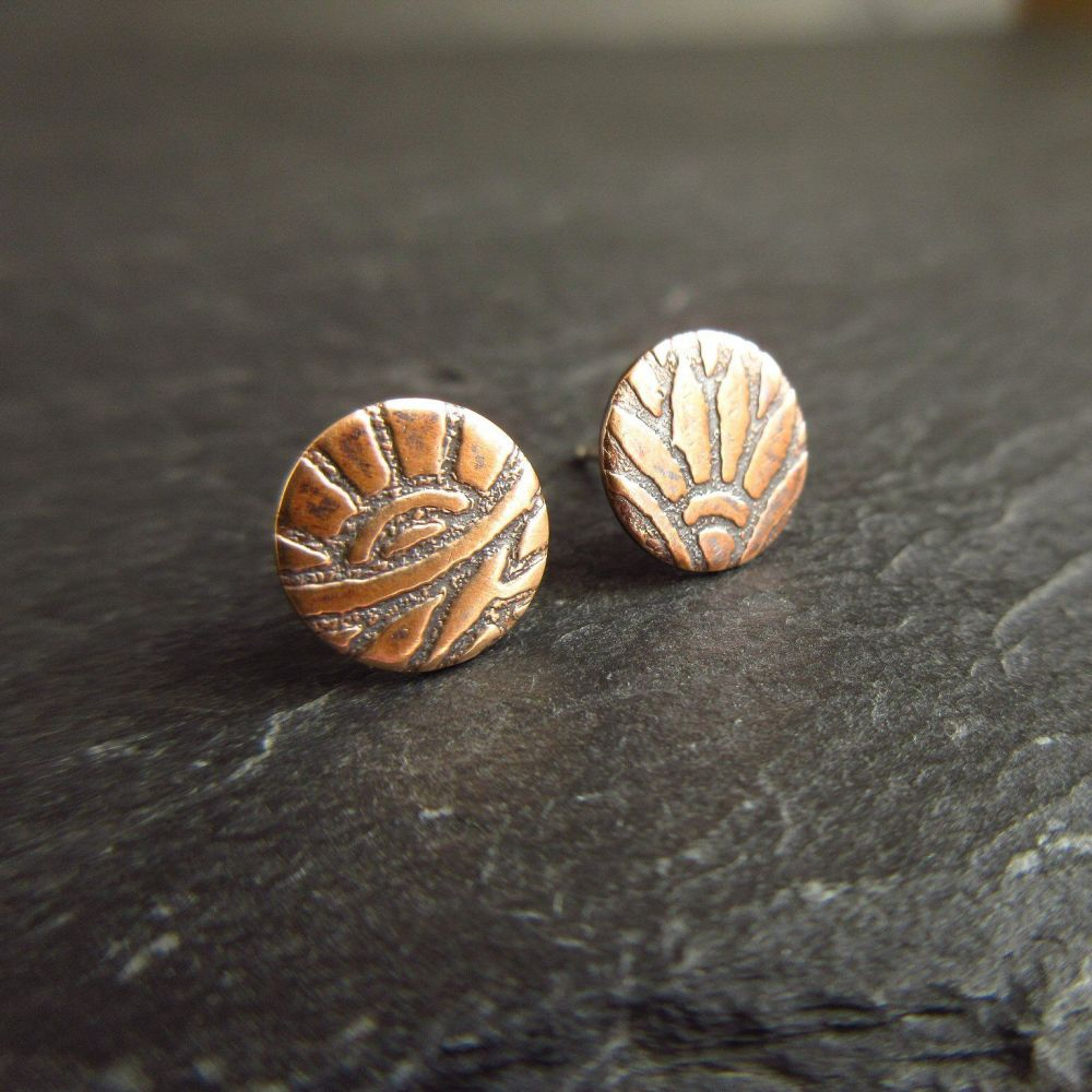 Round Bronze Stud Earrings - Flower and Leaf Design