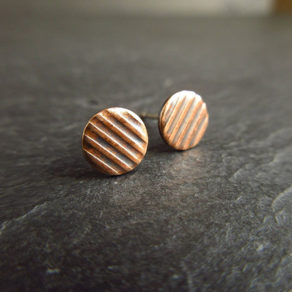 Bronze Stud Earrings with Stripe Pattern