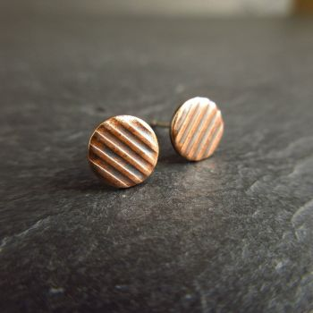 Bronze Stud Earrings with Stripe Pattern